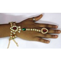 Maroon Green Stone Bracelet with Ring