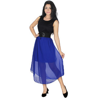 Crystal Crepe Women Dress With Blue Colored