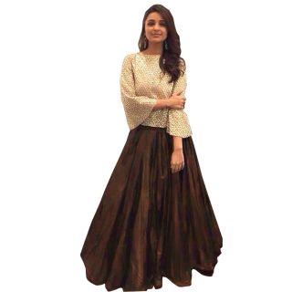 Style Amaze Presents Designer Cream  Brown Lahenga Choli