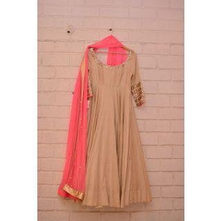 Style Amaze Present Designer Beige  Pink Salwar suit Without Bottom