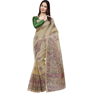 Sareemall Beige Khadi Silk  Saree with Unstitched Blouse 2MDB8702C