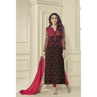 Style Amaze Present Designer Pink  Black Dress Material