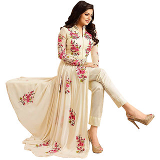 Style Amaze Present Designer White  Pink Embroidered Dress Material With Dupatta
