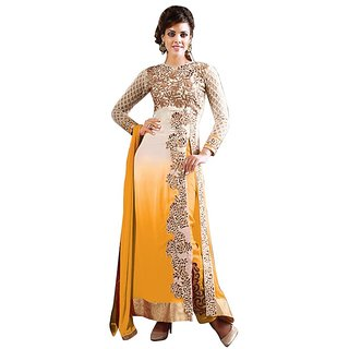 Style Amaze Present Designer Yellow Embroidered Dress Material