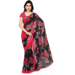 Fabdeal Daily Wear Blue Colored Floral Print Georgette Saree/Sari