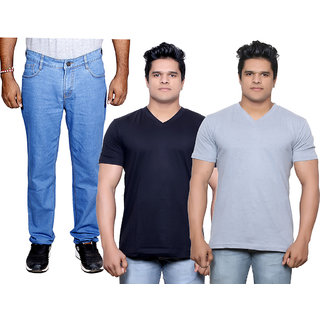 IndiWeaves Men's Combo Pack Offer 1 Ragular Fit Denim Jeans with 2 Cotton Round Neck Half Sleeve T-Shirt (Size-M)
