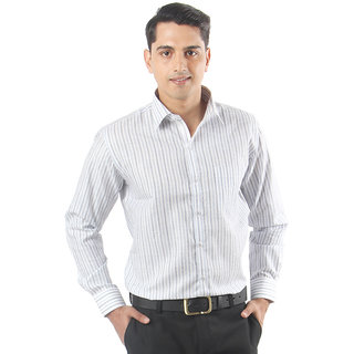 ZIDO Blue Blended  Men's Striped Shirts PCFLX1297Blue