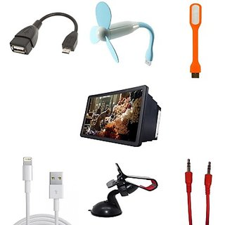Universal LED LIGHT, USB FAN, IPHONE CABLE, 3D F2 HD PHONE SCREEN, MOBILE HOLDER, OTG CABLE, AUX CABLE Combo Set