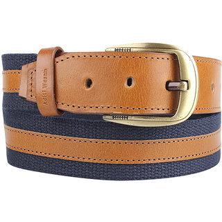 Genuine Leather and Cotton Canvas Blue Tan Mens Belt by Aditi Wasan