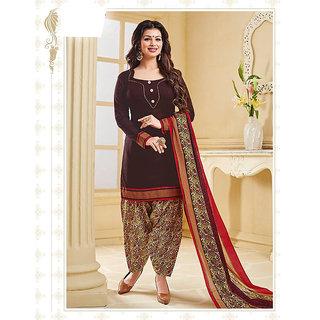 Nikki Fab Maroon Cotton Unstitched Salwar Suit