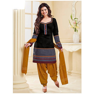 Nikki Fab Black Cotton Unstitched Salwar Suit