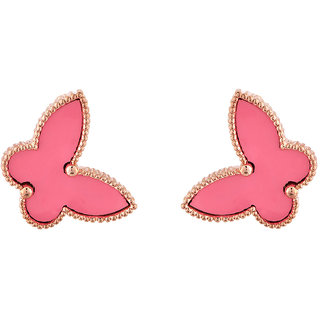 Jazz Jewellery Daily Wear Gold Plated Neon Pink Stud Earrings For Womens