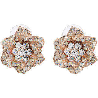 Jazz Jewellery CZ Stone Flower Shape Gold Plated Stud Earrings For Womens