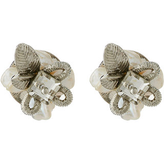 Jazz Jewellery Designer Daily wear Silver Colour CZ and Pearl Floral Stud Earrings For Womens