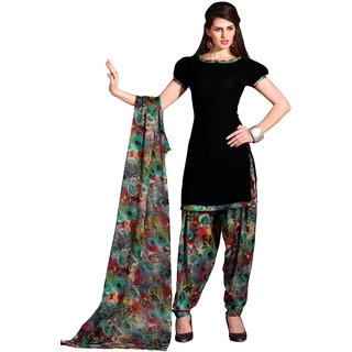 Khushali Printed Crepe Patiyala Unstitched Dress Material (Black And Multi)