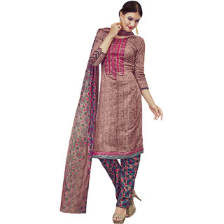 Sareemall Glaze Cotton Embroidered Brown Block Print Dress Material With Dupatta
