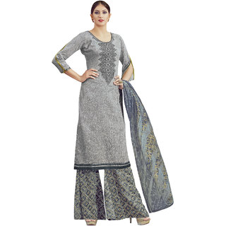 Sareemall Glaze Cotton Embroidered Grey Printed Dress Material With  Dupatta