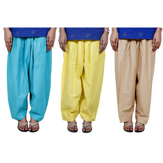 IndiWeaves Women's Cotton Patiala Salwar Combo (Pack of 3 Salwar)
