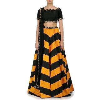 New Yellow  Black Designer Lehngha Choli
