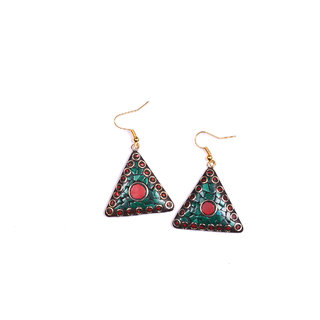 triangle shape earing  green  red colour combination