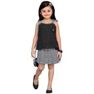 Aarika Black Georgette Girls Floral Design Top Skirt