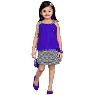 Aarika Blue Girls Floral Design Top Skirt