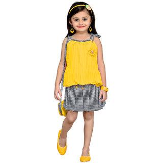 Aarika Gold Girls Floral Design Top Skirt
