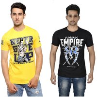 Attitude Men's Yellow & Black Round Neck T-Shirt (Combo)