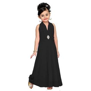 Aarika Black Girls Self Design Gown