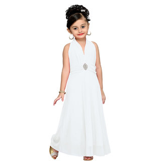 Aarika White Girls Self Design Gown