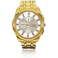 Rosra Stylish Gold Silver Colour Black Dial Analog Wrist Watch For Men
