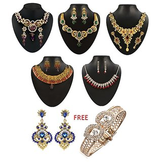 Jewellery Starting @ Rs.69 By Shopclues | Kriaa Alloy Multicolor Set of 5 Jewellery Set With Free Earring kada - 1002041 @ Rs.499