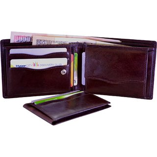 Arpera Brown Genuine Leather Mens Wallet With Detachable Card Holder C11431-2