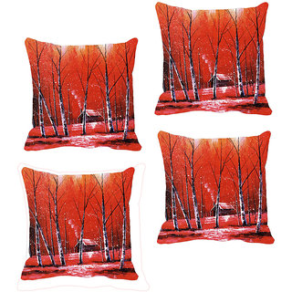 IndiWeaves Micro Polyester Digital Printed Cushion Cover Combo (Pack of 4 Cushion Cover)(Size- 16X16 Inches)
