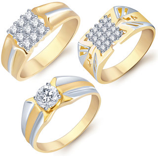 Sukkhi Stylish Gold  Rhodium Plated CZ Set of 3 Ring Combo For Men