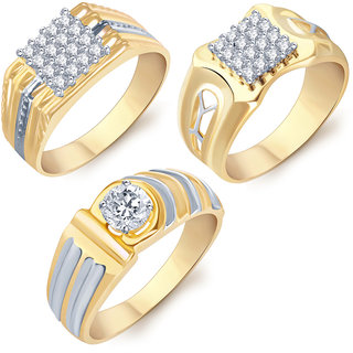 Sukkhi Astonish Gold Rhodium Plated CZ Set of 3 Ring Combo For Men