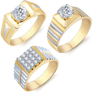 Sukkhi Graceful Gold Rhodium Plated Solitaire Set of 3 Ring Combo For Men