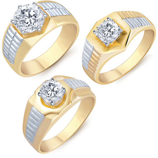 Sukkhi Glimmery Gold Rhodium Plated Solitaire Set of 3 Ring Combo For Men