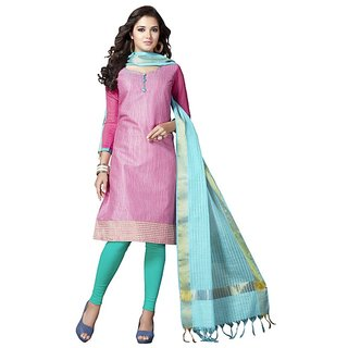 Trendz Apparels Pink Banarasi Silk Straight Fit Salwar Suit