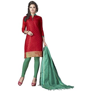 Trendz Apparels Red Banarasi Silk Straight Fit Salwar Suit