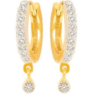 Aditri Fancy Gold And Rhodium Plated American Diamond hoop Bali Earrings-BLRJ517