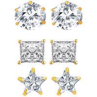 Aditri American Diamond Cz Studs Combo Of 3