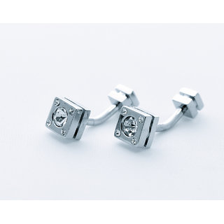 Topen Designer Square Cufflinks With Crystal Studded # 110002