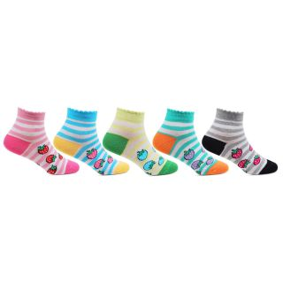 Bonjour Kids Cotton Cushioned Ankle Length Strawberry Designed Pack of 5 pair Socks for 5-8 Years BRO406-03-PO5