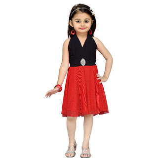 Aarika Girls Black Layered Dress