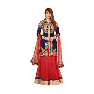 Red Georgette Indo Western Semi Stitched Lehenga Choli