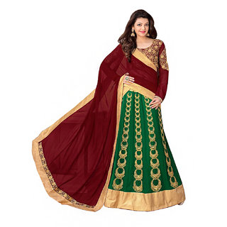 Green Georgette Semi Stitched Wedding Lehenga Choli