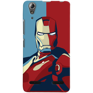 Oyehoye Lenovo A6000 Plus Mobile Phone Back Cover With Iron Man - Durable Matte Finish Hard Plastic Slim Case