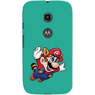 Oyehoye Motorola Moto E2 Mobile Phone Back Cover With Super Mario - Durable Matte Finish Hard Plastic Slim Case