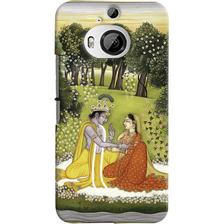 Oyehoye HTC One M9 Plus Mobile Phone Back Cover With Vintage Radhe Krishna Art - Durable Matte Finish Hard Plastic Slim Case